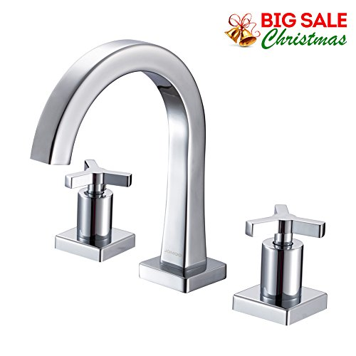 3 Hole Widespread Bath Faucet (JOMOO 8 Inch Widespread Bathroom Sink Faucet With Cross Handles 3 Holes 2 handle kitchen faucet Chrome Double Lever Hot and Cold Basin Mixer Water Tap)