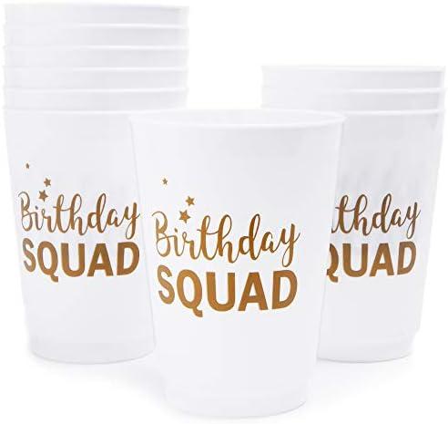 """プラスチックパーティーCups–16-pack使い捨てTumblers、16オンスホワイトプラスチックカップ、誕生日パーティーSupplies、""""誕生日Squad """"デザイン、3x 5.1X 5.1X 3インチ"""