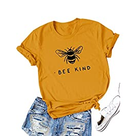 Dresswel Women Bee Kind T-Shirt Cute Bee Graphic Print Short Sleeve Crew Neck Shirts Tee Tops Blouse