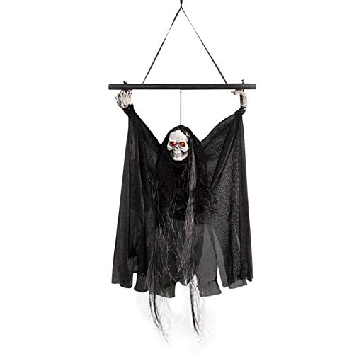 (Hankyky Halloween Ghost Hangings with LED Glowing Eyes and Creepy Shrilling Sound Halloween Prop Skull Halloween Creepy Decor Ornament Indoor)
