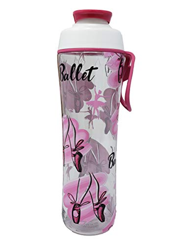 50 Strong BPA Free Reusable Cheer Dance Ballet Gymnast Water Bottle for Girls - 24 30 oz. Clear with Cheerleading Dancer Gymnastics Print - Gift for Cheerleaders, Dancers & Gymnasts (Ballet, 24 oz.)