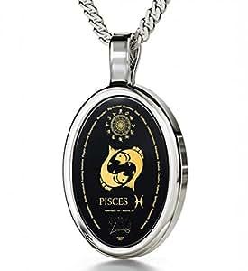 "Nano Jewelry 925 Silver Zodiac Pendant Pisces Necklace Inscribed in 24k Gold on Onyx Stone, 18"""