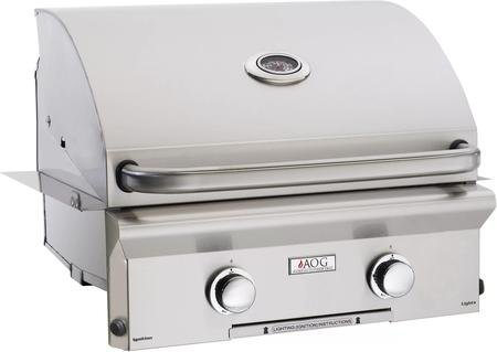 American Outdoor Grill 24NBL00SP 24'' L Series Built-In Natural Gas Grill with 432 sq. in. Grilling Surface 32000 BTU Total Main Burner Output 2 Burners Warming Rack and Drip Tray in Sta by American Outdoor Grill