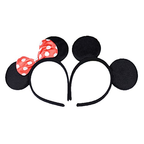 Set of 2 Mickey Minnie Mouse Ears Headband Boys and Girls Birthday Party Mom Hairs Accessories Baby Shower Headwear Halloween Party Decorations Costume Deluxe Fabric Ears with Dots Bow (Red Black)