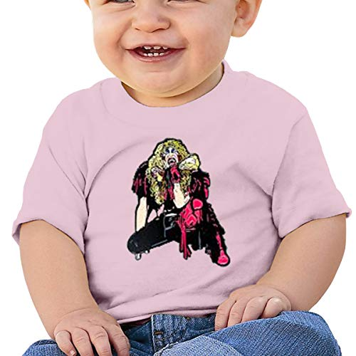 (Melyar Twisted Sister Stay Hungry Washed Cotton Baby Boy Girls Cute Summer Tee Pink)