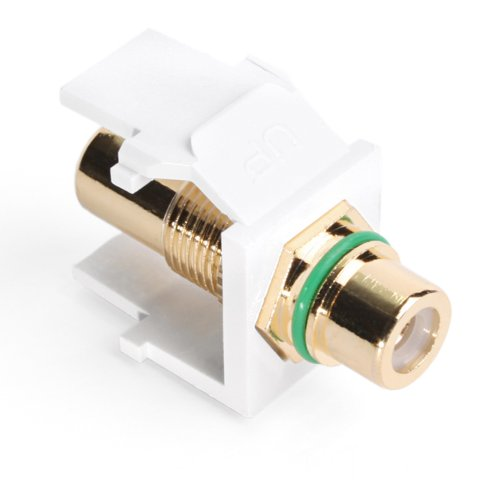 - Leviton 40830-BWV QuickPort RCA, Gold-Plated Connector with Green Stripe, White
