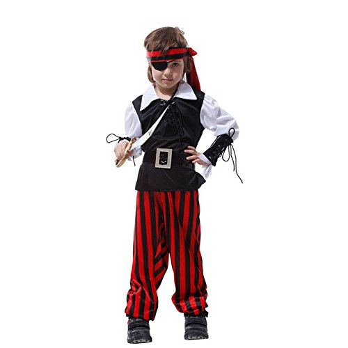 Olds Halloween Costumes Year For 11-12 (ARAUS Masquerade Clothes Halloween Concepts Children's Clothing Pirate King Coat Child's Lil' Pirate Toddler Costume Halloween Accessories for 4-12 Years Old (XL(10-12)
