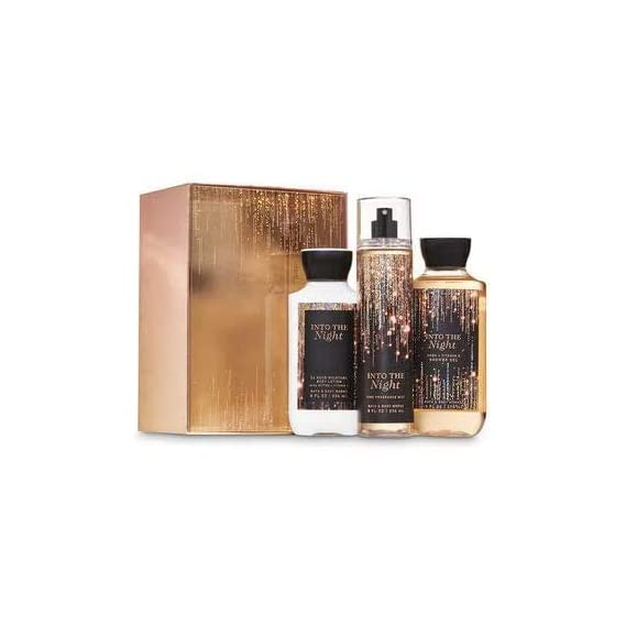 Bath and Body Works INTO THE NIGHT Gift Box Set - Body Lotion, Fine Fragrance Mist & Shower Gel inside a glittery gift