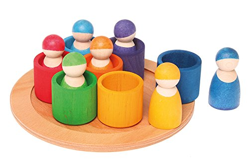 Grimm's Seven Friends in 7 Bowls: Set of Wooden Sorting & Matching Rainbow Peg Dolls with Tray