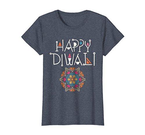 Womens Diwali T-shirt XL Heather Blue by Diwali Celebration Tshirts