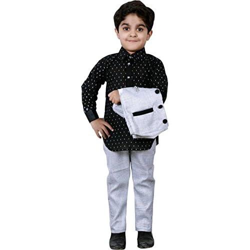 415K7rRheuL. SS500  - AHHAAAA Boy's Cotton Waistcoat Shirt and Pant Set for Kids