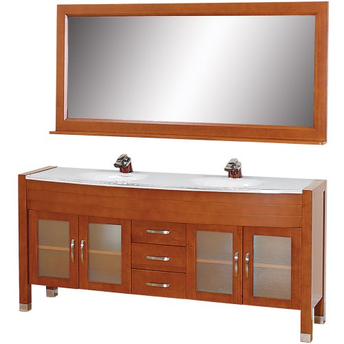 - Wyndham Collection Daytona 71 inch Double Bathroom Vanity in Cherry with White Man-Made Stone Top with White Integral Sinks