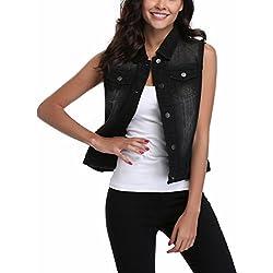 MISS MOLY Women's Sleeveless Frayed White Looking Lapel Denim Vest Button Up Dowm Denim Jacket Vests Coat w 2 Chest Pockets (Black Vest,XL)