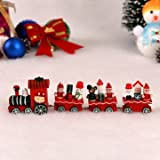 1 Set Wooden Christmas Train Railway Wood Locomotive Christmas Xmas Decoration^.