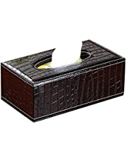 Cq acrylic Rectangular Tissue Box with Cover,Facial Tissue Dispenser Box Cover Holder Black PU Leather Rectangle Napkin Organizer for Bathroom, Kitchen and Office Room