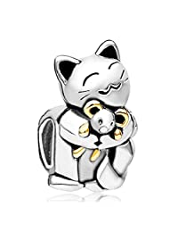 Smiling Pet Cat Hugging Mouse Animal Charms Sale Cheap Bead Fit Pandora Bracelet