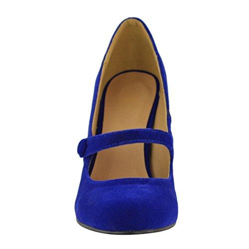 Moda Sed Mujer Baja Media Tacón Alto Correa De Tobillo Zapatos De La Corte Bombas De Trabajo Sandalias Tamaño Cobalto Azul De Imitación De Gamuza