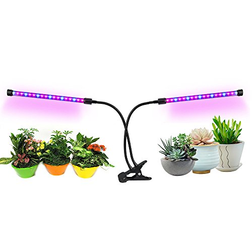Orchid Grow Lights - Grow Light,Plant Grow Light for Indoor Plants Dual Head LED 18W Dimmable 2 Levels Grow Lamp with Adjustable Flexible 360 Degree Gooseneck for Hydroponics Greenhouse Gardening Plants by LEDMEI