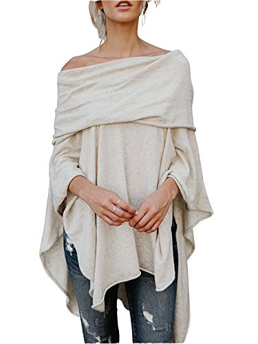 FOXRED Womens Off Shoulder Irregular Hem Soft Knitted Poncho Sweater Pullovers