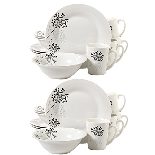 Gibson Home Netherwood 12-Piece Dinnerware Set, White, 2-Pack -