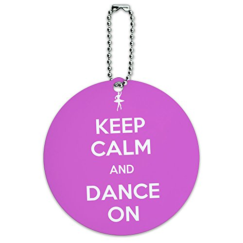 Keep Calm And Dance On Ballet Dancer Round Luggage ID Tag Card Suitcase Carry-On