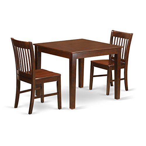 East West Furniture OXNO3-MAH-W 3 Pc Dinette Set Table and 2 Dining Chairs in Mahogany ()