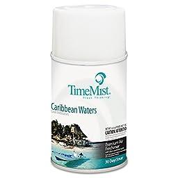 TimeMist TMS 33-5324TMCAPT Metered Fragrance Dispenser Refill, Caribbean Waters, 5.3 oz., Aerosol (Pack of 12)
