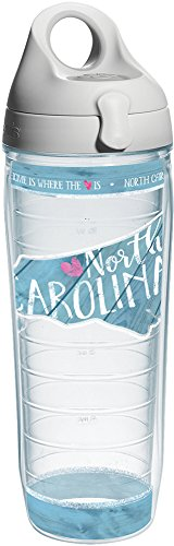 Tervis 1235788 North Carolina State Outline Tumbler with Wrap and Gray Lid 24oz Water Bottle, Clear