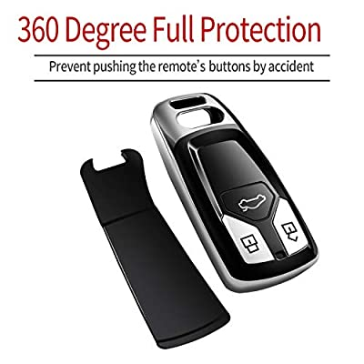 Tukellen for Audi Key Fob Cover with Keychain, Special Soft TPU Key Case Cover Protector Compatible with Audi A4 Q7 Q5 TT A3 A6 SQ5 SQ7 R8 S5 Smart Key(Silver): Automotive