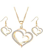 Necklace set and heart shaped earrings for women