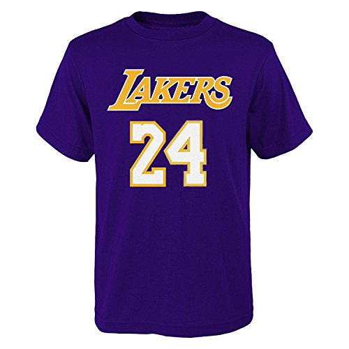Kobe Bryant Youth Player T-shirt (OuterStuff Kobe Bryant Los Angeles Lakers #24 Youth Name & Number T-Shirt Purple (Youth Small 8))