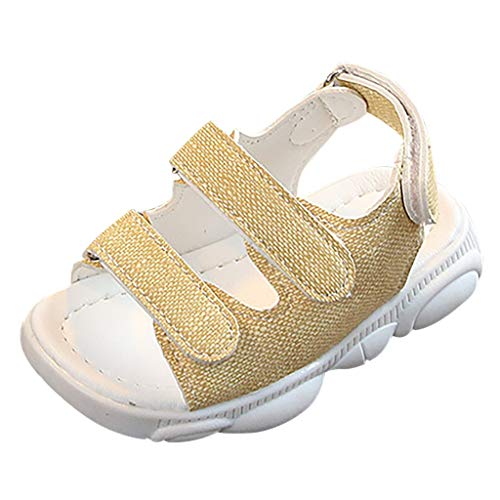 (Orfilaly Sport Beach Sandals for Boys Girls, Summer Solid Flat Casual Hook & Loop Shoes Running Walking Sneakers Size Beige)