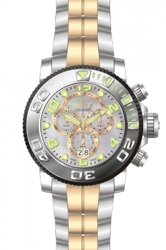 Invicta Mens Sea Hunter Swiss Made Chronograph MOP Dial Two Tone Stainless Steel Watch 13686