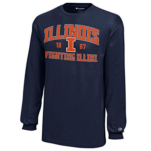 (Champion NCAA Illinois Illini Youth Boys Long Sleeve Jersey T-Shirt, X-Large, Navy)