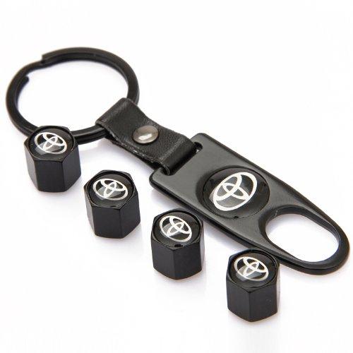 TKXT Black Universal Wheel Tire Valve Stem Caps and 1 pcs Keychain For Toyota ()