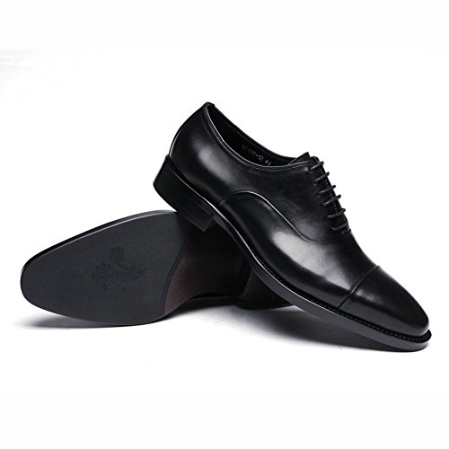 Santimon Mens Genuine Leather Derby Lace-up Dress Business Shoes Black E4mK3eIcD