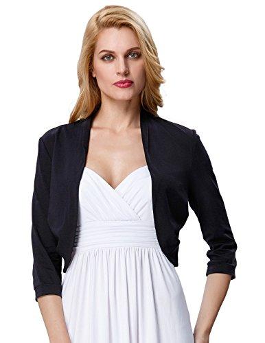 Womens Cotton Shrug Open Front Long Sleeve (S, Black - Dress Black For Sweater