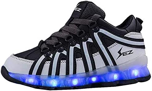 Útil dramático Integración  Kids LED Trainers – Light Up Shoes for Boys & Girls – Rechargeable Glow  Shoes Latest Glow in The Dark Footwear (UK 1, Grey/White): Amazon.co.uk:  Shoes & Bags