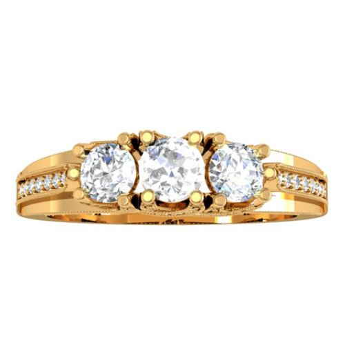 14ky Gold Engagement Ring (1.00 Carat (ctw) 14K Yellow Gold Diamond Vintage Bridal 3 Stone Engagement Ring 1 CT (Size 9.5))