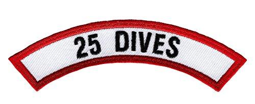 25 Dives Chevron Patch Embroidered Iron On Scuba Diving Emblem Souvenir