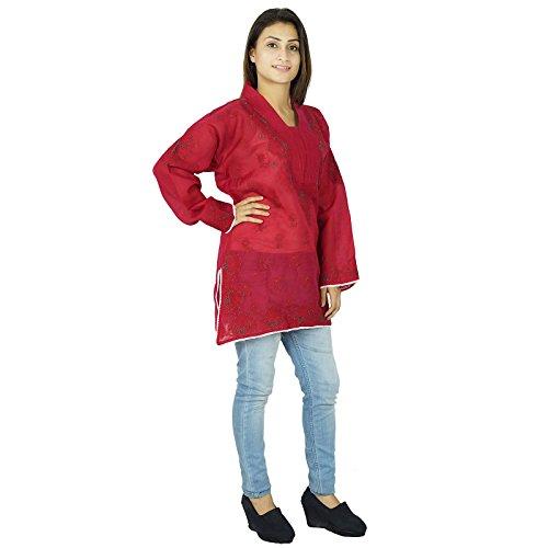 Diseñador indio Chikan bordado Kurta regalo étnico Kurti Casual vestido para ella Mujeres Magenta