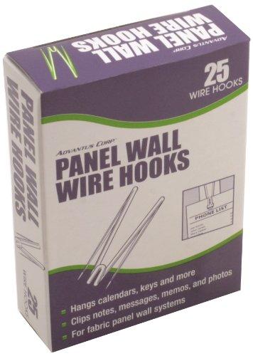 Advantus Panel Wall Wire Hooks, Silver, 25 Hooks - Panel Wall