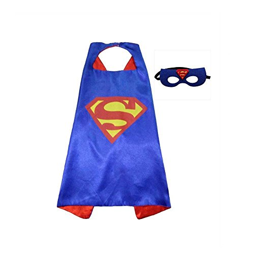 Superhero CAPE & MASK SET Kids with Superman Sticker as Bonus (Superwoman Costume For Toddler)