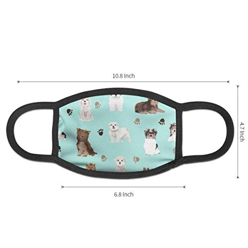 Women Men Boys Girls Dustproof Chocolate Yorkie Maltese Biewer Terriers Cute Toy Dogs Half Face Mouth Mask Breathable Mouth-Muffle for Medical, Travel, Outdoor