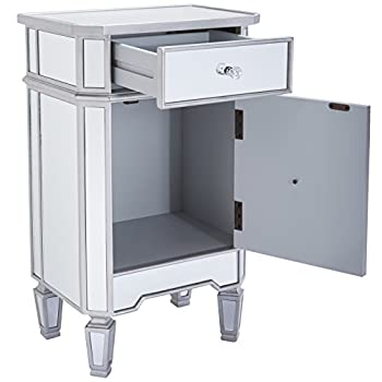 """Monarch Specialties I 3702, Accent Chest 1 Drawer 1 Cabinet, Mirrored, Brushed Silver Trim, 29"""" H"""