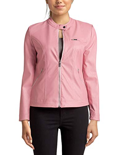 Just One Women's Faux Leather Moto Jacket, Pink Blush, Meduim M