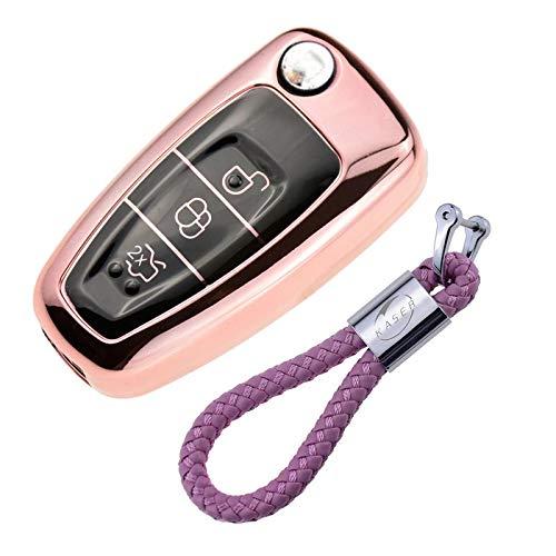 Funda clave KB rosa flúor de silicona protección llaves del auto control remoto cover
