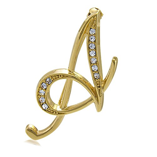 - BERRICLE Gold Flashed Base Metal Initial Letter 'A' Wedding Brooch Pin