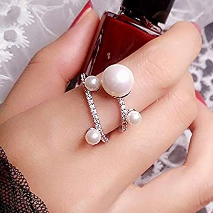 Korean Jewelry Pearl Ring Women Girls Index Finger Atmospheric Tide Student Fashion Personality Exaggerated Large Decorative