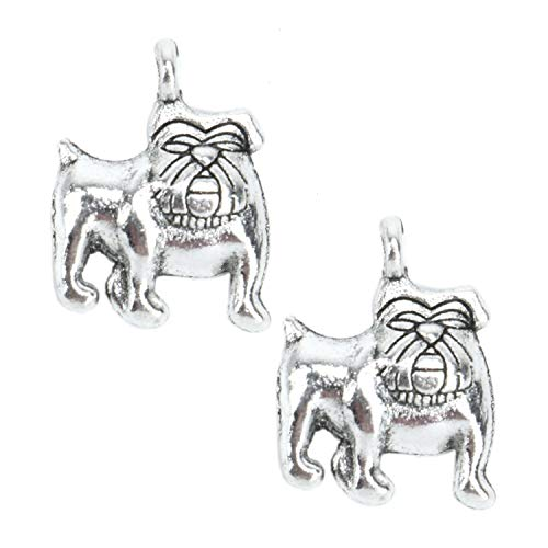 Monrocco 100pcs Alloy Dog Charms Pendants Animals Dogs Charms Bulldog Charms Pendant for DIY Necklace Bracelet Jewelry Making (Ancient Silver)